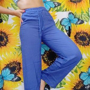 ROYAL BLUE FLOWY PALAZZO PANTS